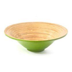 Green and Natural Spun Bamboo Bowl - *** FREE SHIPPING!! ***