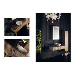 Topex Armadi Art Capitone - Topex Armadi Art Capitone, Beige Vanity, With Vessel Sink. Vessel Sinks. White Vessel Sinks, Beige Bath Furniture, Beige bathroom vanities, White Sinks