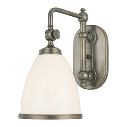 Hudson Valley Lighting - Single Light Adjustable Sconce - 1428-OB - A rotating hinge means that you can adjust this single-light sconce vertically up to 16-inches. A matte white bell-shaped shade encloses a single bulb for ample direct illumination, while its body and base are composed of sturdy solid brass finished in a rich bronze. Designed for the bathroom vanity, but classy enough for a hallway, foyer or bedside. The backplate dimensions are 4-1/2 inches in width and 7-1/4 inches in height. Takes (1) 100-watt incandescent A19 bulb(s). Bulb(s) sold separately. Dry location rated.
