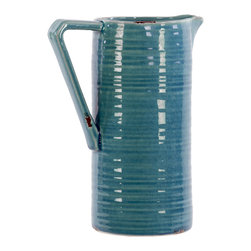 Ceramic Pitcher Ribbed - Distressed Turquoise - *Ceramic Pitcher Ribbed Distressed Turquoise