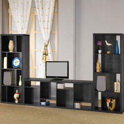 Coaster - Black Transitional Bookcase - This bookcase console creates a wall of storage and display. Finished in black.