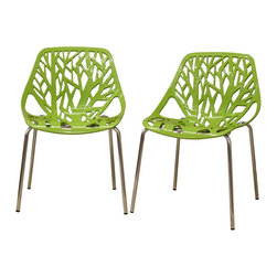 Wholesale Interiors - Birch Sapling Green Plastic Modern Dining Chairs, Set of 2 - This forest chair lends a modern touch of the beauty of a small grove of trees to your home. The intricate cut-out design is ideal around a minimalist dining table or simply as a standalone chair in an entryway or extra room. It is constructed with a sturdy spring green molded plastic seat atop a steel frame with a shiny silver chrome finish. Black non-marking feet finish off the chair. This chair is stackable, and assembly is required.