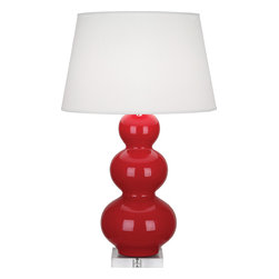 Robert Abbey - Triple Gourd Table Lamp, Ruby Red - -1-150W Max.