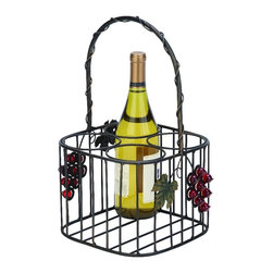 "Woodland Imports - Elegant and Beautiful Inspired Sheet Metal Wine Holder 15""H, 9""W Home Decor - Elegant and beautiful inspired sheet metal wine holder 15""h, 9""w living dining and family room home accent decor"