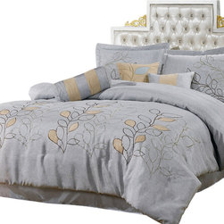 Bed Linens - Silver Linen Oversized 11-Piece Bed in a Bag Queen Size - The colors of this set are combination of Silver Linen with brown stitching and beige suede leaf pattern stitched on