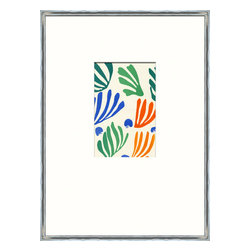 Soicher-Marin - Matisse Minis A - Giclee Print with a silver metallic wood frame with white mat insert.  Includes glass, eyes and wire. Made in the USA. Wipe down with damp cloth