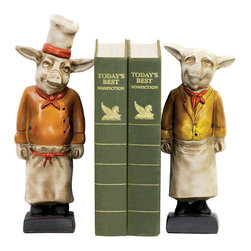 Sterling Industries - Pair Chef Pig Bookends Decorative Accessory in Painted - Pair Chef Pig Bookends Decorative Accessory in Painted by Sterling Industries