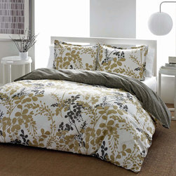 City Scene - City Scene Sassafras Cotton 3-piece Duvet Cover Set - This City Scene Sassafras Cotton 3-piece Duvet Cover Set keeps the bedroom in fashion with its iconic contemporary floral looks. The cotton set reverses to charcoal grey and is machine washable.