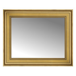"""Posters 2 Prints, LLC - 29"""" x 24"""" Arqadia Gold Traditional Custom Framed Mirror - 29"""" x 24"""" Custom Framed Mirror made by Posters 2 Prints. Standard glass with unrivaled selection of crafted mirror frames.  Protected with category II safety backing to keep glass fragments together should the mirror be accidentally broken.  Safe arrival guaranteed.  Made in the United States of America"""
