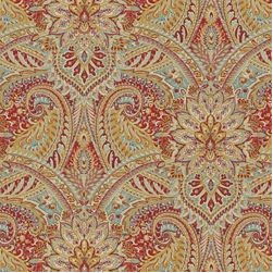 Swept Away / Berry - Printed paisley on a cotton linen blend with lots of fine detail and bright palette of berry turquoise and gold.
