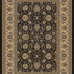 """Orian - Orian American Heirloom Arabesque (Onyx) 3'11"""" x 5'5"""" Rug - American Heirloom Collection, Orian Rugs' flagship collection is inspired by classic, hand-woven oriental rugs that combine understated elegance with classic style. The 1.5 million point design construction is densely woven with Orian's finest-denier yarns creating unparalleled visual dimension and pin point design clarity."""