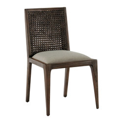 "Brownstone - Brownstone Messina Rattan Dining Chair - A subtle nod to midcentury modern design defines the Brownstone Messina chair's chic allure. Textured with a rattan back, the refined seat invites with smooth pearl-colored fabric. 20""W x 21""D x 26""H; Reclaimed teak; Smokey brown finish; Cotton/polyester blend upholstery"
