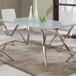 Chintaly Imports - Jade Starphire Glass Dining Table - Modern rectangular glass dining table. The glass top is tempered Super Clear painted white. The Y shaped legs and frame support the table in shiny stainless steel.