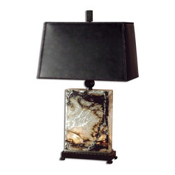 Uttermost - Uttermost Marius Table Lamp in Bronze - Shown in picture: Black - Brown And Ivory Marble With Bronze Metal Details. This table lamp is made of black - brown and ivory marble with bronze metal detail and a night light inside the base. The bronzed faux leather shade is a rectangle hardback.