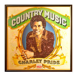 """Glittered Charley Pride Album - Glittered record album. Album is framed in a black 12x12"""" square frame with front and back cover and clips holding the record in place on the back. Album covers are original vintage covers."""