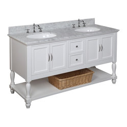 Kitchen Bath Collection - Beverly 60-in Double Sink Bath Vanity (Carrera/White) - This bathroom vanity set by Kitchen Bath Collection includes a white cabinet, soft close drawers, self-closing door hinges, Italian Carrera marble, double undermount ceramic sinks, pop-up drains, and P-traps. Order now and we will include the pictured three-hole faucets and a matching backsplash as a free gift! All vanities come fully assembled by the manufacturer, with countertop & sink pre-installed.