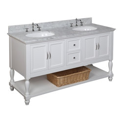 Kitchen Bath Collection - Beverly 60-in Double Sink Bath Vanity (Carrara/White) - This bathroom vanity set by Kitchen Bath Collection includes a white cabinet, soft close drawers, self-closing door hinges, Italian Carrara marble, double undermount ceramic sinks, pop-up drains, and P-traps. Order now and we will include the pictured three-hole faucets and a matching backsplash as a free gift! All vanities come fully assembled by the manufacturer, with countertop & sink pre-installed.