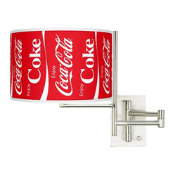 Contemporary Enjoy Coca-Cola® Plug-In Swing Arm Wall Lamp