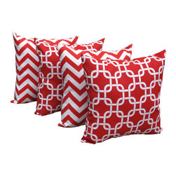 Land of Pillows - Zig Zag Chevron Red and Gotcha Lipstick Red Chain Link Throw Pillows - Set of 4, - Fabric Designer - Premier Prints