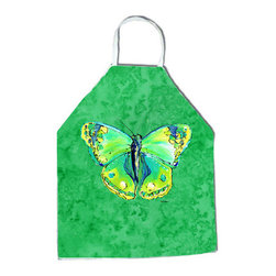 "Caroline's Treasures - Butterfly Green on Green Apron - Apron, Bib Style, 27""H x 31""W; 100% Ultra Spun Poly, White, braided nylon tie straps, sewn cloth neckband. These bib style aprons are not just for cooking - they are also great for cleaning, gardening, art projects, and other activities, too!"