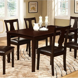 Furniture of America - Furniture of America Arteria 7-Piece Dining Table Set - Espresso Dark Brown - ID - Shop for Dining Tables from Hayneedle.com! A blend of classic and contemporary the Furniture of America Arteria 7-Piece Dining Table Set Espresso is a beautiful upgrade for your dining room. This set includes a solid wood and veneers dining table and six fiddle back side chairs. The table and chairs are drenched in a rich espresso finish. The chair seats are upholstered in black leatherette.About Furniture of AmericaFurniture of America has over 20 years experience in the furniture industry. They have facilities in California Georgia and New Jersey. Furniture of American strives to provide a comprehensive selection of home furniture at competitive prices. They feature a wide variety of bedroom collections youth furniture dining room sets upholstery living room furniture accents upholstery and more. Furniture of America offers more value for less always!
