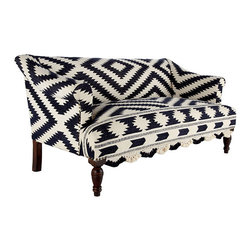 "Wooden Upholstered Sofa with Bridal Rug - What makes this perfect is the amazing pattern that isn't perfect. No two are alike. Its black and white diamonds are a symbol of unity. And you'll be ""at one"" with this settee and its rich, dark hardwood legs and 19th century design."