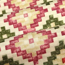 Topkapi Geometric Upholstery Fabric in Olive and Rose - Topkapi Geometric Upholstery Fabric in Olive and Rose has an eye-catching, Turkish inspired pattern in muted shades of green and pink on a beige cotton and linen blend. This fun fabric works well in a variety of applications including upholstery, bedding, and accent pillows. Perfect for a rustic or Tuscan inspired interior design project. American made from 60% linen and 40% cotton. Width: 54″ Repeat: L:12″