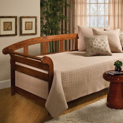 Hillsdale Furniture - Jason Daybed - HL2938 - Shop for Daybeds from Hayneedle.com! Make your little boy's bedroom into the perfect spot for friends with the Hillsdale Jason Daybed. This daybed has a classic sleigh bed style with flared side panels and durable slats. The handsome dark pine finish is a great match to any color bedding. This daybed comes complete with a support system for your mattress and value packages may be added including adding a pop-up trundle to double the sleeping space. About Hillsdale FurnitureLocated in Louisville Ky. Hillsdale Furniture is a leader in top-quality affordable bedroom furniture. Since 1994 Hillsdale has combined the talents of nationally recognized designers and globally accredited factories to bring you furniture styling and design from around the globe. Hillsdale combines the best in finishes materials and designs to bring both beauty and value with every piece. The combination of top-quality metal wood stone and leather has given Hillsdale the reputation for leading-edge styling and concepts.
