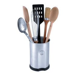 "CIA 7-Piece Stainless Steel Kitchen Tool Set - Great talent and good looks come together in The Masters Collection TM 7 Piece Kitchen Tool Set. All the high-performance essentials in a beautiful 18/10 stainless steel caddy. This Kitchen Tool set includes: 18/10 Stainless Steel Perforated Spoon 14"" Wooden Stirring Spoon 14"" Wooden Pot Spoon Nonstick Slotted Turner Round Basting Brush 10"" Sauce Whisk 18/10 Stainless Steel Caddy Specification Assortment of high-quality, essential kitchen tools covering a wide variety of functions Perforated spoon is made of heavy-gauge 18/10 stainless steel, wooden spoons are solid maple, and nonstick turner is high-impact thermoplastic Round basting brush features a maple wood handle and firmly sealed natural boar bristles 10"" sauce whisk features a maple wood handle and a watertight stainless steel head Attractive heavy-gauge 18/10 stainless steel caddy has a soft, rubberized base that absorbs sound and prevents scratching, plus it's weighted to avoid tipping Lifetime warranty All product sales benefit The Culinary Institute of America Scholarship Fund Caddy Material: 18/10 stainless steel Caddy Size: 6 3/4"" high, 4 3/4"" diameter Warranty: Lifetime"