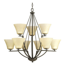 Progress Lighting - Progress Lighting P4625-20 Bravo Nine-Light Two-Tier Chandelier with Fluted - From the Bravo Collection, this nine light, two tier up lighting chandelier features fluted etched glass shades with simple curves and straight line arms.Features: