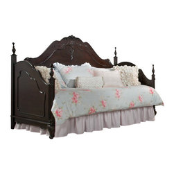 Homelegance - Homelegance Cinderella 4-Piece Day Bed Kids' Bedroom Set in Dark Cherry - The Cinderella collection is your little girl s dream. The Victorian styling incorporates floral motif hardware, Dark cherry finish and traditional carving details that will create the feeling of a room worth of a fairy tale princess.