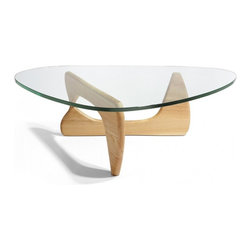 Tribeca Coffee Table, Natural - The wood pieces are sculpture, visible through the top, arranged in an intriguing top to bottom fashion. Noguchi designed the Noguchi Table for the Museum of Modern Art (Mo Ma) in New York celebrating the marriage between form and function; and it offers its owner a structure that is both scultpture and furniture.