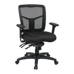 Office Star - Office Star ProGrid Back Mid Back Managers Chair With 2-Way Adjustable Arms - ProGrid Back Managers Chair with 2-Way Adjustable Arms, Seat Slider and Forward Pitch. Breathable ProGrid Back with Built-in Lumbar Support. Coal FreeFlex Fabric Padded Seat. Height and Width Adjustable Arms with PU Pads. Heavy Duty Nylon Base with Oversized Dual Wheel Carpet Casters. What's included: Office Chair (1).