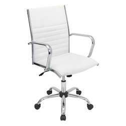"Lumi Source - Master Office Chair in White - A classic look redesigned for modern appeal. The slightly angular back adds support and style to this leatherette covered office chair. The polished chrome arms and feet makes this whole package complete.; Color: White; Seat Height: 18 - 21.75""; Weight: 30 lbs; Dimensions: 21.75""L x 23""W x 37.75 - 41.5""H"