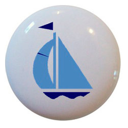 Carolina Hardware and Decor, LLC - Light Blue & Navy Sailboat Ceramic Cabinet Drawer Knob - New 1 1/2 inch ceramic cabinet, drawer, or furniture knob with mounting hardware included. Also works great in a bathroom or on bi-fold closet doors (may require longer screws).  Item can be wiped clean with a soft damp cloth.  Great addition and nice finishing touch to any room.