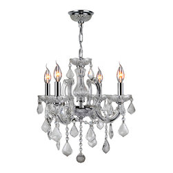 """Worldwide Lighting - Catherine 4-Light Chrome Finish & Clear Crystal Chandelier 18"""" D x 18"""" H Medium - This stunning 4-light Crystal Chandelier only uses the best quality material and workmanship ensuring a beautiful heirloom quality piece. Featuring a radiant chrome finish and finely cut premium grade clear crystals with a lead content of 30%, this elegant chandelier will give any room sparkle and glamour."""