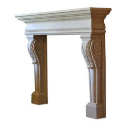 Distinctive Mantel Designs - Acanthus Mantel, Sahara, 78 - Traditional but not stodgy, the Acanthus mantel brings elegance to any space.  The tapered acanthus leaf legs provide a great deal of visual interest, and perfectly complement the curves of the shelf.  Its smaller depth is perfect for rooms without a lot of space.  The Acanthus mantel is a great choice for any traditional space.