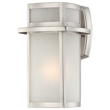 "Contemporary Outdoor Wall Lights And Sconces Contemporary Brushed Nickel Frosted Glass 11 1/4"" High Outdoor Wall Light"
