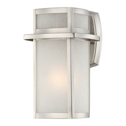 """Lamps Plus - Contemporary Brushed Nickel Frosted Glass 11 1/4"""" High Outdoor Wall Light - This sleek stunning outdoor light offers refined good looks that will complement updated home styles. Featuring a brushed nickel finish and beautiful frosted seedy glass. This sleek design comes standard with lots of contemporary appeal. Takes one 60 watt bulb (not included). 11 1/4"""" high. 7"""" wide. Extends 8"""" from the wall.  Brushed nickel finish.   Frosted seedy glass.   Takes one 60 watt bulb (not included).   11 1/4"""" high.   7"""" wide.   Extends 8"""" from the wall.  Back plate 5"""" high and 6 1/4"""" wide."""