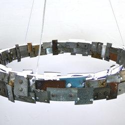 STUDIO-6 Chandelier - LED Wine Barrel Ring Light -100% Recycled wine barrel ring -