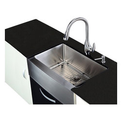 Kraus - 30 in. Farmhouse Single Sink and Pull out Faucet - Add an elegant touch to your kitchen with unique Kraus kitchen combo