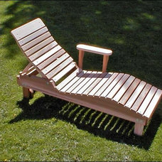 Contemporary Outdoor Chaise Lounges Red Cedar Highback Contoured Chaise Lounge