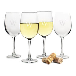 None - Personalized White Wine Glasses (Set of 4) - Sleek and elegant,this set of four stylish engraved wine glasses is a timeless addition to your stemware collection. Crafted from hand-blown glass,the glasses are designed to enhance the the bouquet and flavor of your favorite white wine.