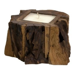 Small Teak Wood Candle - *The rustic beauty of natural wood imbues the teakwood candle with the warmth and comfort of curling up in front of a warm fire with a cup of hot chocolate. The perfect touch when grouped with the medium and large teak wood candles and placed on your hearth.