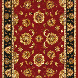 Dynamic Rugs - Dynamic Rugs Jewel 70230-339 (Red Black) 5' x 8' Rug - The Jewel collection is all about beauty and color of classic persian rug designs. Jewel features the use of a hard twist woll pile in a pulled-down construction as a backdrop for floral motifs of artsilk. The use of these combined textures in today's color shades creates a rich backdrop for the transitional interior fashion look with a sharper edge... and as with any good fashion element, Jewel's up-scale transitional look is flexible. Jewel can work as the color foundation for shaggy chic interiors...or as the finishing touch of dreeier transitional interiors.