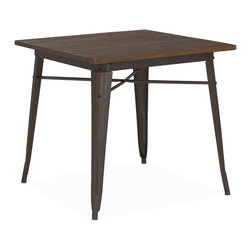 "Design Lab MN - Tolix Style Rustic Matte + Elm Wood Top Steel Dining Table 30"" - As seen in many bistros across France, the Tolix style dining table is a classic piece used for generations. It comes in clear gunmetal, white, white with wood top or rustic with wood top."