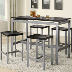 Wildon Home � - Freedom 5 Piece Counter Height Dining Set - You can have a table that marries utility and beauty perfectly with this counter height table and chair set. Complementing contemporary backless stools create the ideal set. There will be plenty to get excited about when you add this sophisticated five piece dining set to your casual dining and entertainment room. Features: -Rectangular shape.-Clean lines and smooth straight edges.-Set includes one counter height table and four stools.-Metal Construction.-Freedom collection.-Collection: Freedom.-Distressed: No.Dimensions: -Dimension: 41'' H x 24'' W x 48'' D.
