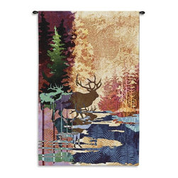 Home Decorators Collection - Ghosts of the Tall Timbers Tapestry - This contemporary lodge home accent carefully blends earth tones and animal silhouettes for a remarkably detailed and unique masterpiece. The Ghosts of the Tall Timbers Tapestry will bring a modern twist on nature into your home decor. Order today.Jacquard woven of 100% cotton.Woven with the latest computer-based loom, giving the highest image resolution available.Heirloom-quality tapestries last a lifetime.Tapestry rod and hanging hardware not included.