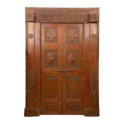 Sierra Living Concepts - Gothic 19th Century Hand Carved Antique Indian Door - Wood has been a favorite traditional material of Indian craftsmen for centuries and so doors just naturally became a favorite place to practice their craft. This gothic door is a beautiful work of art that illustrates India's rich cultural heritage.