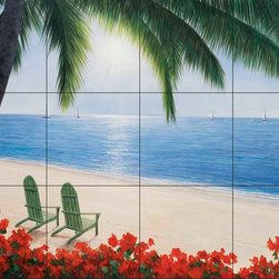 The Tile Mural Store (USA) - Tile Mural - By The Sea  2 - Kitchen Backsplash Ideas - This beautiful artwork by Diane Romanello has been digitally reproduced for tiles and depicts a nice beach scene.  Beach scene tile murals are great as part of your kitchen backsplash tile project or your tub and shower surround bathroom tile project. Waterview images on tiles such as tiles with beach scenes and sunset scenes on tiles.  Tropical tile scenes add a unique element to your tiling project and are a great kitchen backsplash  or bathroom idea. Use one or two of our beach scene tile murals for a wall tile project in any room in your home for your wall tile project.